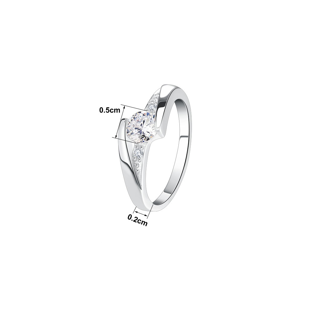 Inel de logodna placat cu rhodium si pietre zirconiu Elena 17