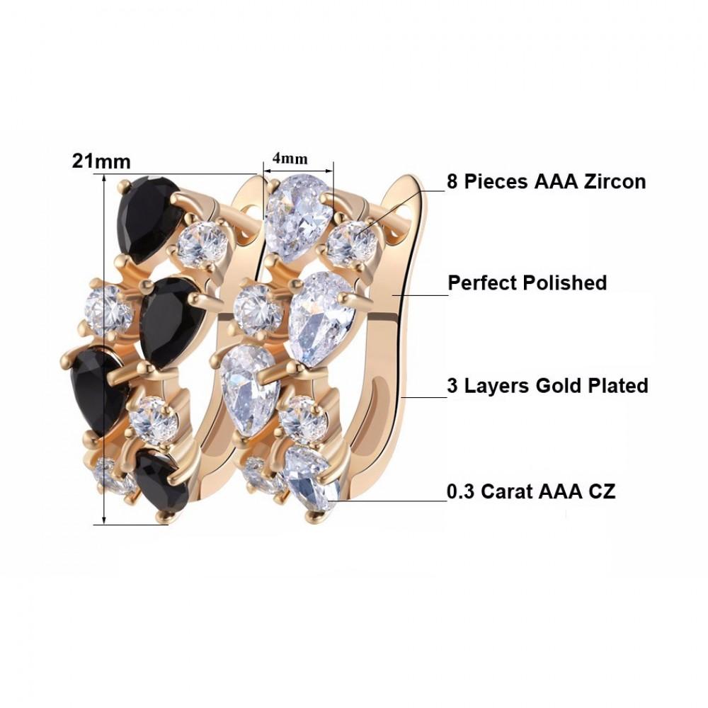 Cercei placati cu 3 straturi aur si pietre zirconiu Elena 33