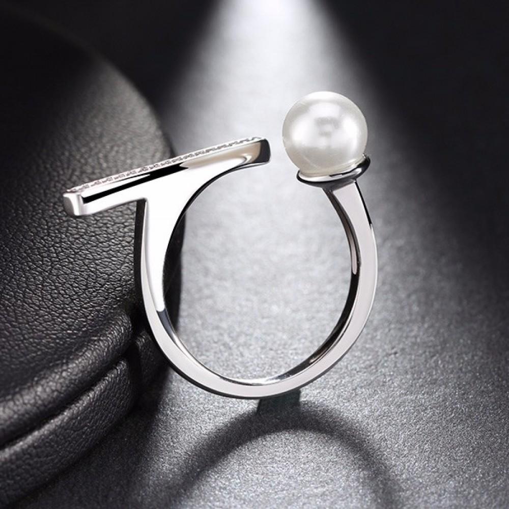 Inel placat cu rhodium si imitatie perla zirconiu Elena 25