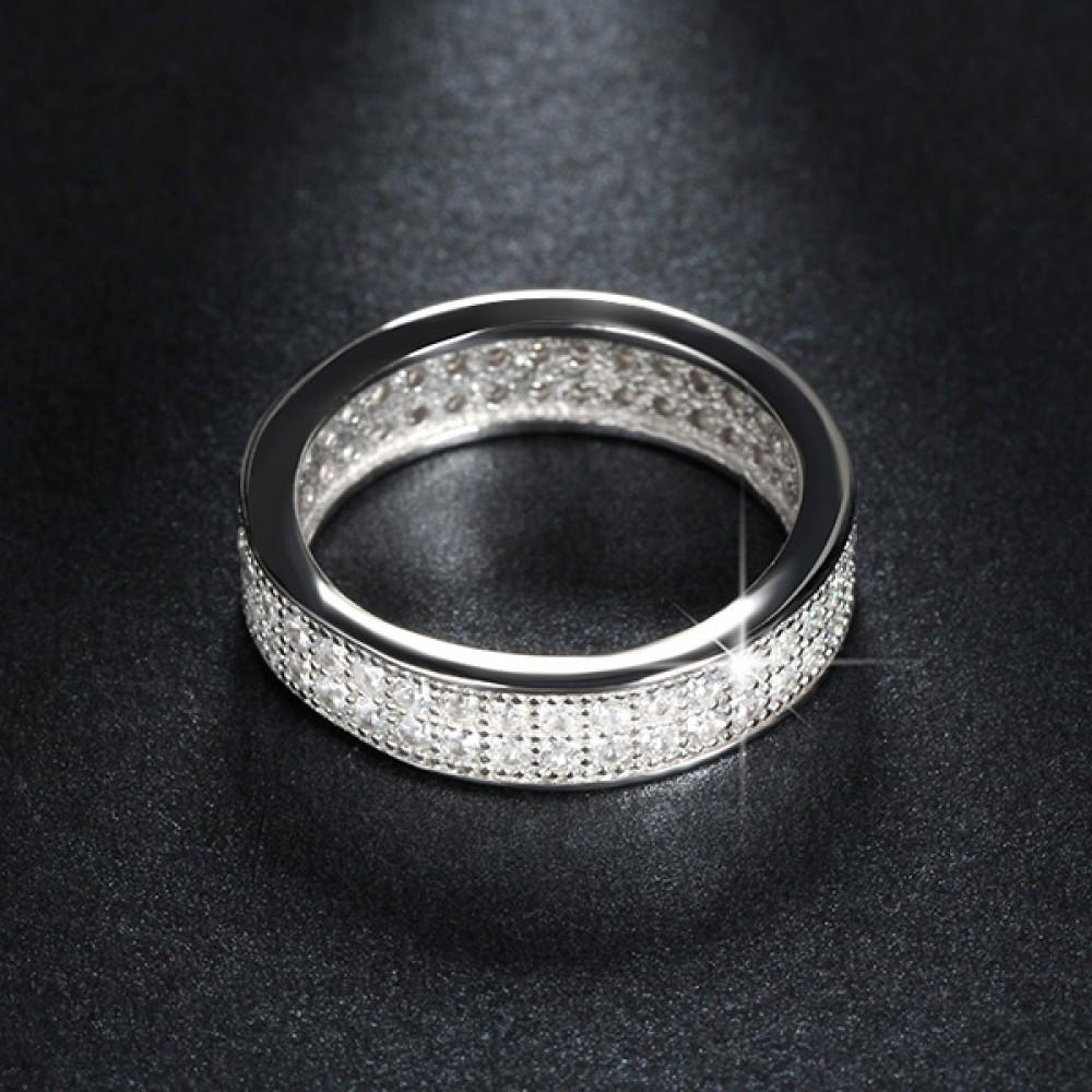 Inel deosebit placat cu 3 straturi de platina si 76 piese zirconiu - Elena 32
