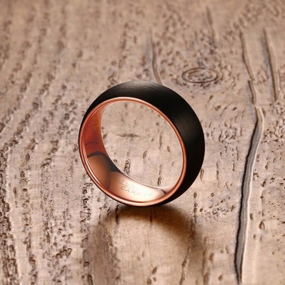Inel Gentleman din Tungsten  cu un design deosebit pentru barbati