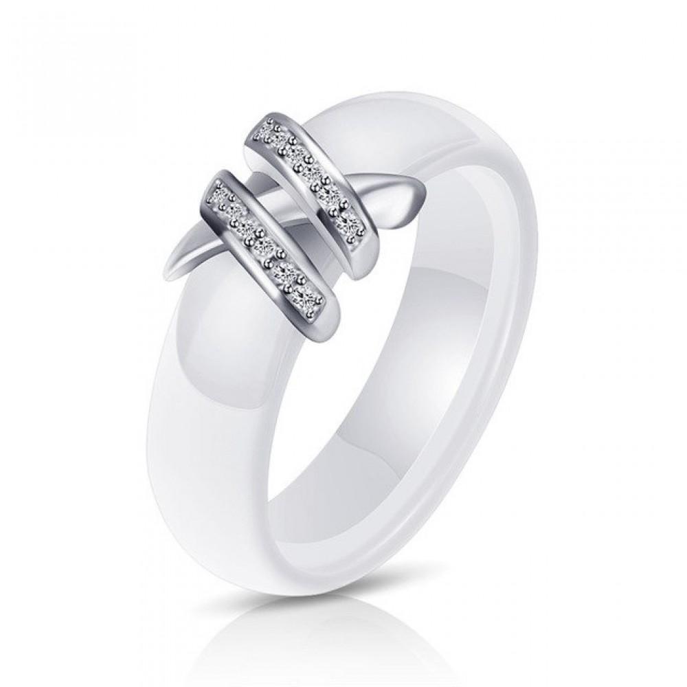 Inel din ceramica alb - Elena37