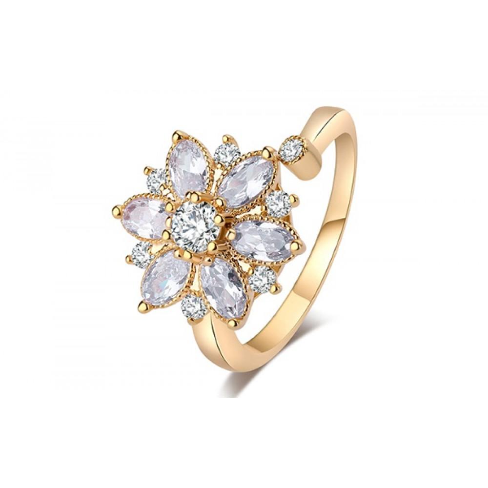 Inel Adnana placat cu 3 straturi aur si pietre zirconiu