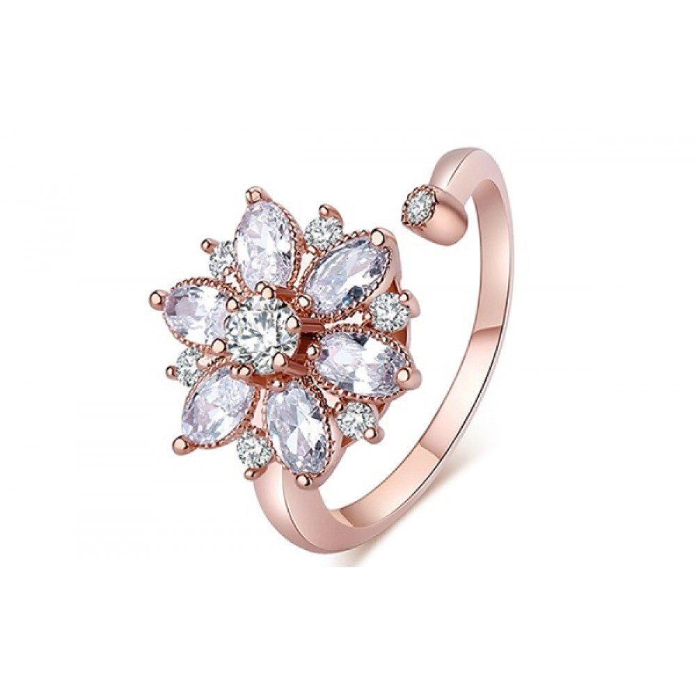 Inel Adnana placat cu 3 straturi aur rose si pietre zirconiu