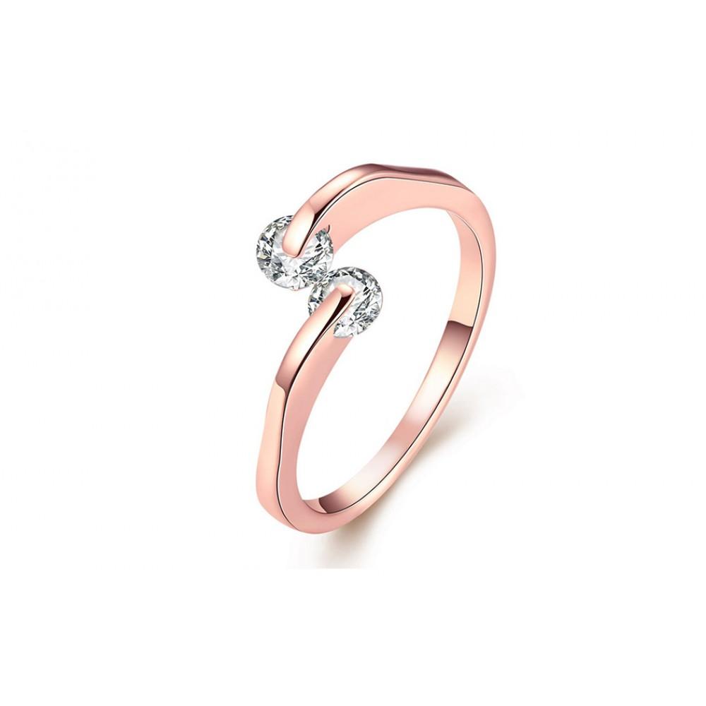 Inel de logodna Anastasia placat cu 3 straturi aur si pietre zirconiu