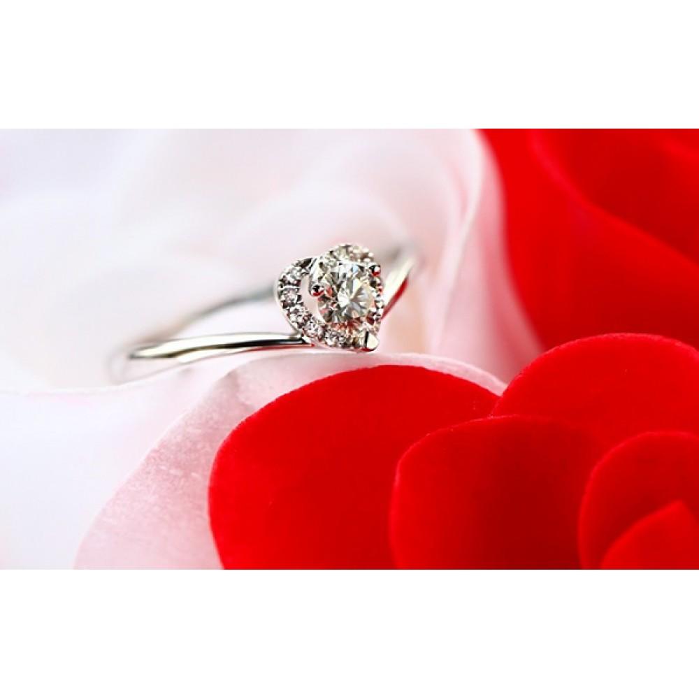 Inel Jolie de logodna placat cu platina si pietre zirconiu