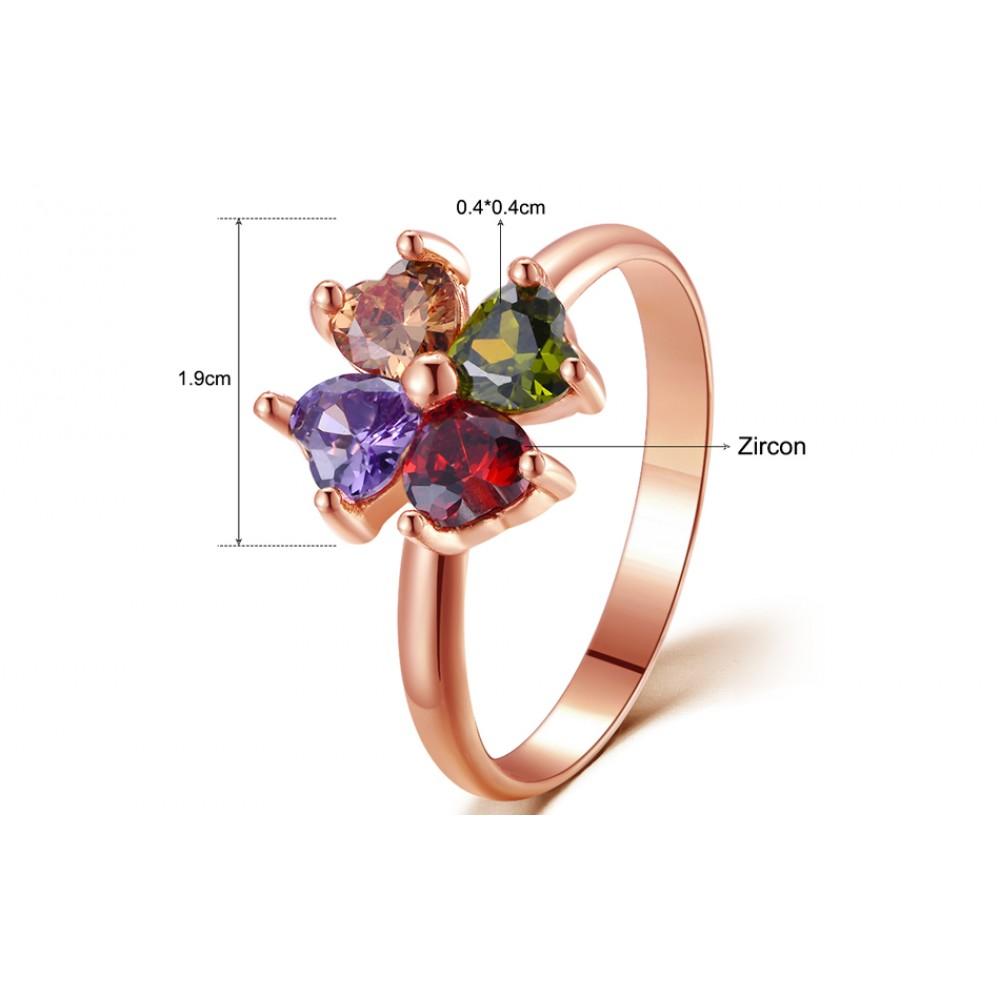 Inel Simple placat cu aur rose si pietre zirconiu