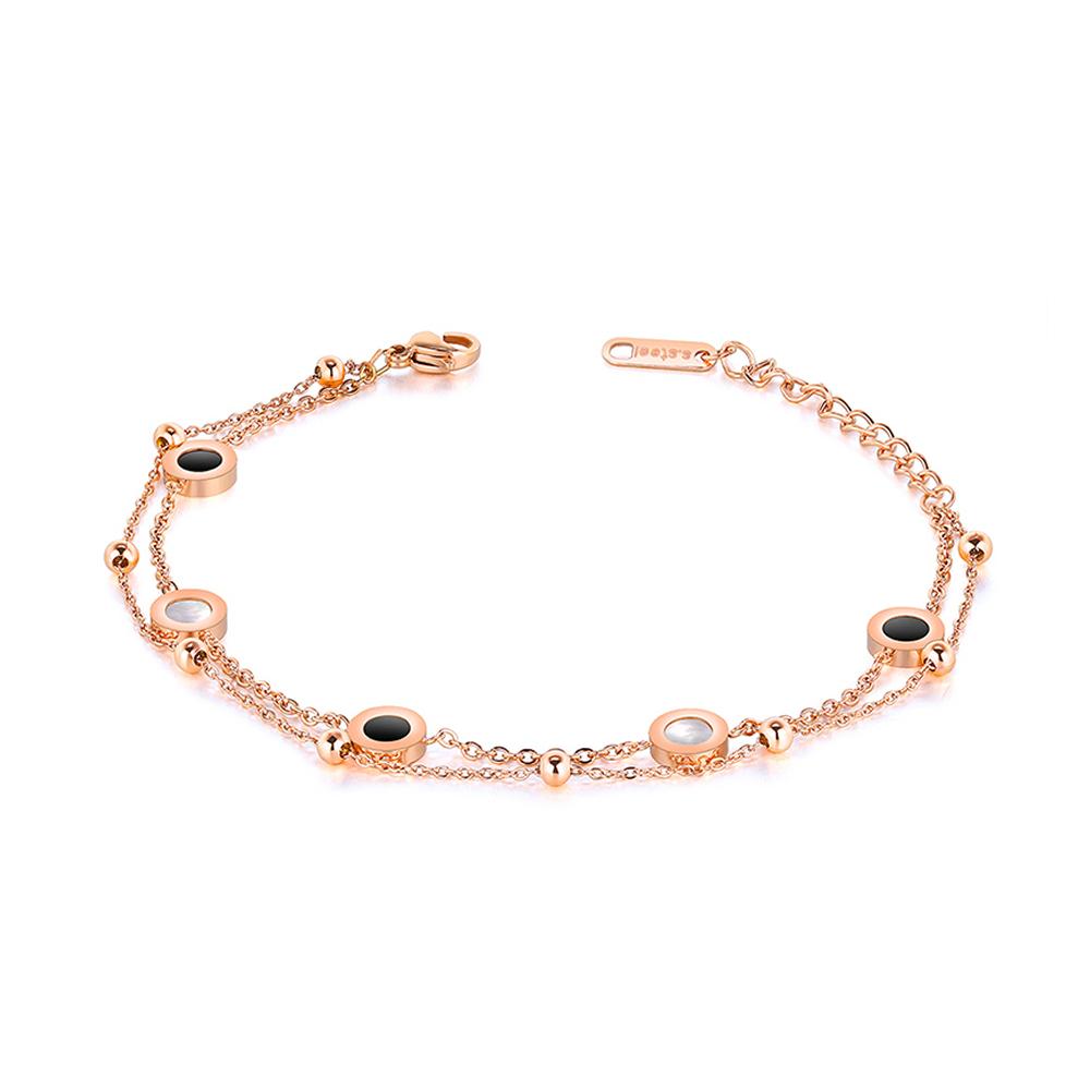 Bratara Annia placata in 3 straturi de aur rose si imitatie perla