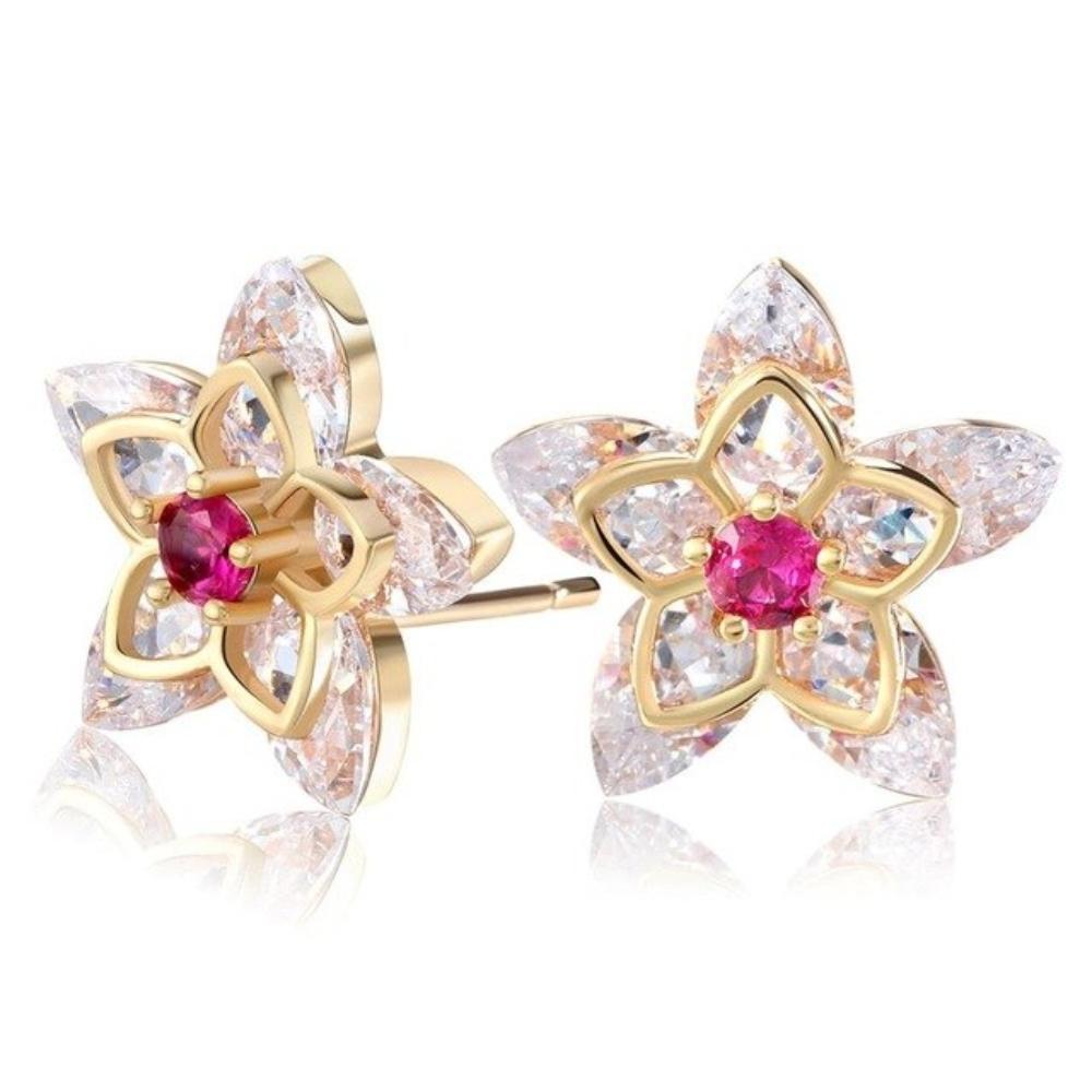 Cercei Princess placati cu 3 straturi aur si pietre zirconiu - Design Deosebit