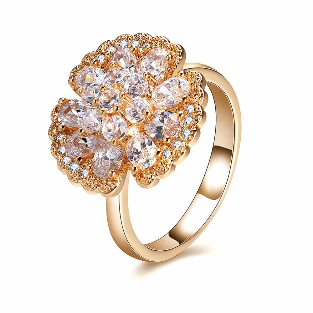 Inel Julia placat cu aur si prevazut cu pietre zirconiu